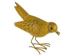 Yellow Metal Standing Bird Table Decor