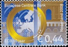 Sello: 10 Years European Central Bank (Holanda) (Jubilee's) Mi:NL 2578,NVP:NL 2572