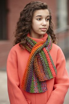 Crochet this sassy keyhole scarf with our Yarn of the Month! Pattern calls for 2 balls of Lion Brand Unique and a size N-13 (9 mm) crochet hook.