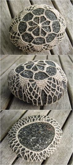 Pin by Maarika von Wahl on stones rocks Crochet Stone, Freeform Crochet, Thread Crochet, Knit Or Crochet, Irish Crochet, Crochet Motif, Crochet Crafts, Crochet Flowers, Crochet Stitches