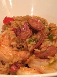 Jambalaya ...with Andoiulle Sausage, Jumbo Gulf Shrimp, Red and Green Pepper, Garlic, Onion, Rice and Cajun Spice