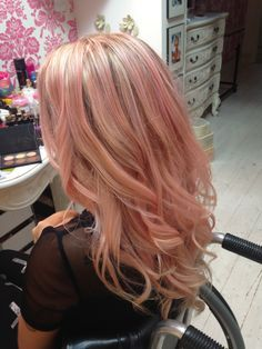 rose gold highlights blonde - Google Search