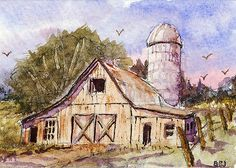 "ACEO, Art Card (2.5X3.5in.)-""Hill Country Barn""-Original Miniature Watercolor"