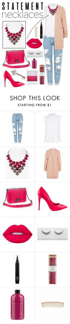 """""""Necklaces in pink"""" by citlalisanchezd ❤ liked on Polyvore featuring Topshop, Elie Tahari, BaubleBar, Acne Studios, Relaxfeel, ALDO, Lime Crime, i am a, Holga and philosophy"""