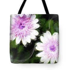 "African Daisy Tote Bag by Flamingo Graphix John Ellis (18"" x 18"").  The tote bag is machine washable, available in three different sizes, and includes a black strap for easy carrying on your shoulder.  All totes are available for worldwide shipping and include a money-back guarantee."