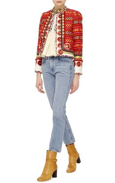 Shop The Layla Jacket. This one of a kind **Alix of Bohemia** Layla jacket features a woven design with metallic brass hardware and floral disk trim. Ethnic Fashion, Trendy Fashion, Boho Fashion, Fashion Outfits, Casual Work Attire, Bohemian Style, Ethnic Style, T Shirt And Jeans, Style Inspiration