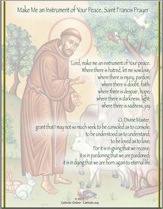 saint_francis_prayer Come Holy Spirit Prayer, Prayer For Peace, Prayer For The Day, Prayer Prayer, Prayer Board, Faith Prayer, Saint Francis Prayer, St Francis, Novena Prayers