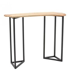 WOODEN CONSOLE W_METALLIC LEGS IN BROWN COLOR 105X35X83