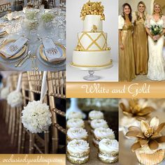 "White and Gold Wedding | ""Add Glamour To Your Wedding With Gold... "" Read more: http://blog.exclusivelyweddings.com/2014/06/16/add-glamour-to-your-with-gold-5-dazzling-wedding-color-combinations/"