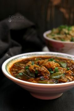 Mushroom Manchurian Gravy Recipe - A super yummy Indo-Chinese recipe that goes well with rice esp fried rice.