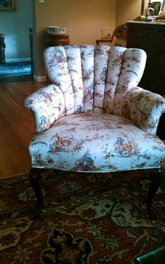 Asian Toile Chair - love the delicate design of the fabric