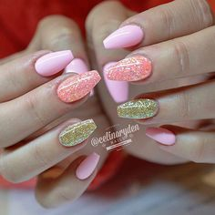 Pastel Pink and Gold Glitter Ballerina Nails