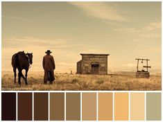 The Ballad of Buster Scruggs Movie Color Palette, Colour Pallette, Cinematic Photography, Film Photography, Cinema Colours, Color In Film, Pantone, Color Script, Movie Shots