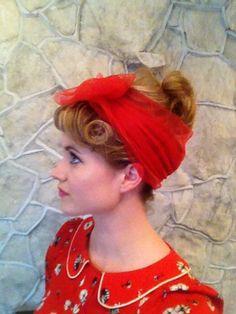 50s hair chiffon scarf updo by AVintageWalker