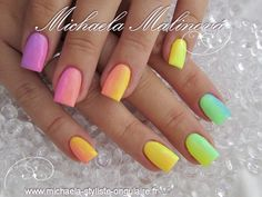 rainbow gradient nail design - ombre nails