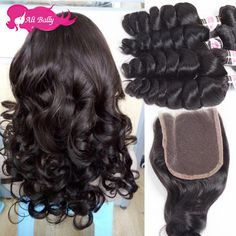 8A Brazilian Virgin Hair With Closure Rosa Hair Products 3 Bundles Human Hair With Closure  Brazilian Loose Wave With Closure