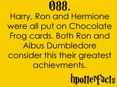 Harry, Ron, and Hermione were all put on Chocolate Frog cards.  Both Ron and Albus Dumbledore consider this their greatest achievements.