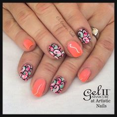 Gel II in Reactions Malibu Sunrise with marbled and stamping on accents #gel2…