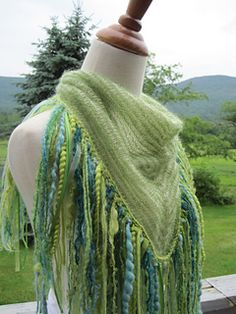 Super Fringy Shawl in Be Sweet Skinny Wool & Extra Fine Mohair.