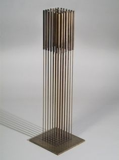 Harry Bertoia (American, born Italy, 1915-1978) Sound Piece, 1978, beryllium copper, 39 1/2 x 16 x 16 inches, MSU purchase, funded by the Fr...