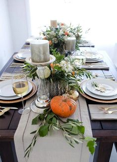 I like the high low elements in this fall / thanksgiving tablescape. 19 Festive Fall Table Decor Ideas That Will Last Until Thanksgiving via Brit + Co. Fall Table Settings, Thanksgiving Table Settings, Diy Thanksgiving, Thanksgiving Centerpieces, Holiday Tables, Place Settings, Thanksgiving Celebration, Thanksgiving Traditions, Thanksgiving Appetizers