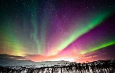 Northern Lights #2 - Auroras are relatively weak and more red light is often the limit of what the human retinas can capture. Cameras, however, are often more sensitive, and with a long exposure setting and a dark, clear sky, you can do some spectacular photos.
