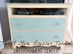 I added some interest to our T.V. space with a Thrift Store Dresser Turned Entertainment Center, check out the full tutorial!