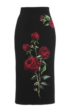 Virgin Wool Rose Embroidered Pencil Skirt by DOLCE & GABBANA Now Available on Moda Operandi