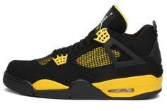 "Mens Nike Air Jordan Retro 4 ""THUNDER"" Basketball Shoes Black / White / Tour Yellow 308497-008 Jordan. $289.00"