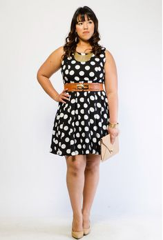 Love this look but not with that necklace  Polka Dot Flared Dress