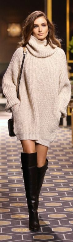 Short sweater dress and over the knees.