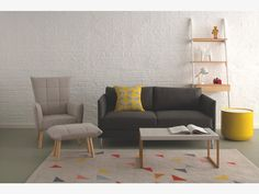 The Hyde grey fabric 2 seater sofa delivers high comfort with slender proportions. Buy now at Habitat UK. Fabric Armchairs, Fabric Sofa, Grey Fabric, Small Armchairs, Yellow Fabric, Home Living Room, Living Room Designs, Living Room Furniture, Yellow Storage