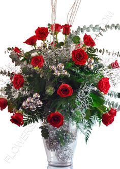 58811d742cb5 24 lucious red roses and Christmas accents...perfect for a Holiday get  together