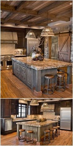 Next Post Previous Post 27 Cabinets for the Rustic Kitchen of Your Dreams Sierra Escape Rustic Wood & Stone Kitchen. Rustic Kitchen Cabinets, Rustic Kitchen Design, Kitchen Wood, Rustic House Design, Primitive Kitchen, Kitchen Countertops, Kitchen Dresser, Farmhouse Cabinets, Kitchen Interior