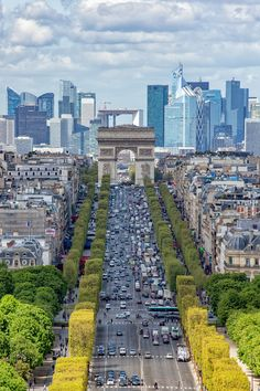 Champs Elysee - Paris champs elysee aerial view landscape from Concorde place panoramic wheel