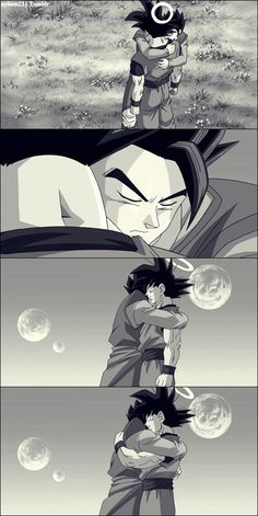 Awww Goku and his oldest son Gohan.... and they say Goku is a bad father.... at least he shows his kids he loves them ❤