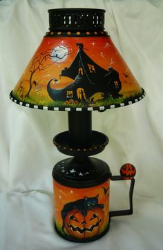 OOAK Original Vintage Metal Halloween Lamp Witch Shoe Black Cat JOL Bats Ghosts | eBay sold $164.00
