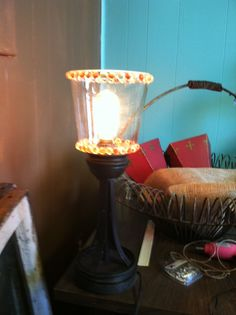 Rustic lamp embellished with glass beads
