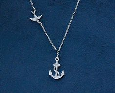 Anchor Necklace with Swallow in Silver  Sailor by FiveThirty, $22.00