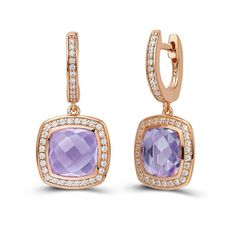 Lafonn Rose Gold & Amethyst earrings