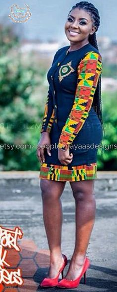 Kente and Black African Fashion DressAfrican by NayaasDesigns