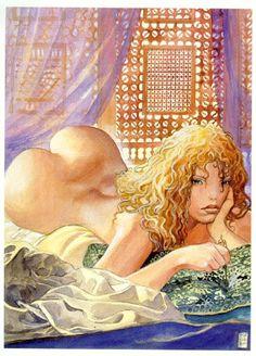 "Milo Manara, lithograph ""Aphrodite"" - W. Manado, Comic Book Artists, Comic Artist, Sexy Drawings, Art Drawings, Aphrodite, Milo Manara Art, Comics In English, Ouvrages D'art"