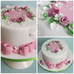 Beautiful Christening Cake for little Grace. All lovely and pink. Beautiful Christening Cake for l Pretty Cakes, Cute Cakes, Beautiful Cakes, Christening Cake Girls, 80 Birthday Cake, Cakes For Women, Floral Cake, Occasion Cakes, Girl Cakes