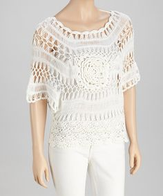 Take a look at this White Crocheted Cape-Sleeve Top by SR Fashions on #zulily today!
