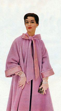 Pink swing coat neck bow model magazine vintage fashion photo print ad 50s Nancy Berg for Worumbo Woolens 1950s