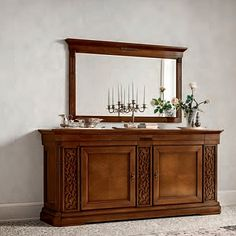 Vintage, wooden and elegant 'Marilyn' Dressing Table. Dark wood, very high quality material. Amazing mirror. Perfect both for bedroom and living room or hallway. My Italian Living.