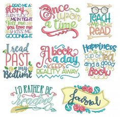 Machine Embroidery Patterns Reading Word Art Set 2 Reading Pillow Machine Embroidery Designs by JuJu - Embroidery Store, Pillow Embroidery, Learn Embroidery, Machine Embroidery Patterns, Embroidery Files, Embroidery Stitches, Embroidery Jewelry, Babylock Embroidery Machine, Embroidered Quilts