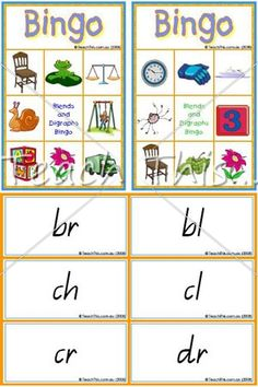 Blends and Digraphs Bingo Game - Fun School Literacy and Reading Games, dominoes, bingo, matching, board games and more :: Teacher Resources and Classroom Games :: Teach This