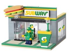 <OXFORD> Limited Block Brick For Mania Subway Sandwitch Store made in korea Lego Sculptures, Amazing Lego Creations, Lego Blocks, Lego Room, Exhibition Booth Design, Lego Worlds, Lego Design, Lego Projects, Lego Instructions