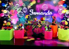 Girl Birthday Themes, Birthday Party For Teens, Sweet 16 Birthday, 80s Party Decorations, Jojo Siwa Birthday, Neon Party, Flamingo Party, Tropical Party, Its My Bday